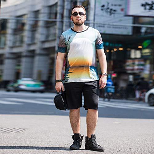 Summer Heren Print Trainingspak Casual Short Pak Mannen Cotton Sports Suit T-Shirt + Shorts 2 Sets Sportswear Slim Outfits,Blue,XL