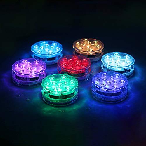 wolketon Unterwasser Licht, IP68 Wasserdichte LED Leuchten 4 Stück mit Fernbedienung RGB Multi Farbwechsel Lichter pool für Vase Base Party,Schwimmbad,Garten, Aquarium, Vase, Badewanne