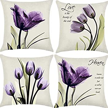 Hibedding Tulip Purple Throw Pillow Cover 18x18 Decorative Floral Pillows Case for Sofa Couch Living Room Fall Decor Farmhouse Home Decoration 4 Pack