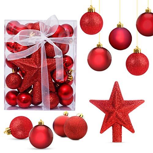 O-Kinee Bolas de Navidad Rojo,Adornos de Navidad para Arbol,30PCS Bolas para Arbol de Navidad,Decoracion Arbol Navidad,Regalos de Colgantes de Navidad, 3CM (Rojo)