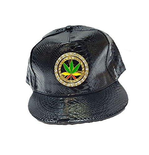 KGM Accessories Lush Neuf Patent Serpent Rasta Cannabis Strass Métal Capuchon à Dos Noir