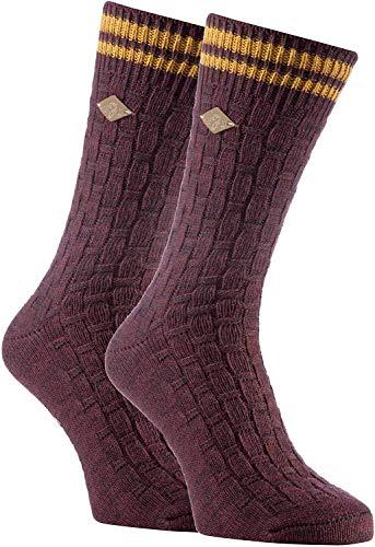 FARAH® - 2er Pack Herren Vintage Qualität Baumwolle Socken mit Gestreift (39/45, 04 Deep Red)