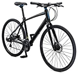 Schwinn Vantage F3 Mens/Womens Sport Hybrid Bike, 21-Speed Drivetrain, 55cm/Small Aluminum Frame, Flat Bar, Disc Brakes, Smooth Ride Technology, Black