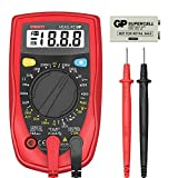 ACCURATELY MEASURES: This multimeter can test AC/DC Voltage, DC current (Not for AC current), Resistance, Diode, Continuity and More. Sampling Speed: 3 times per second EASE OF USE: Data Hold button holds a reading; large backlit LCD with large digit...