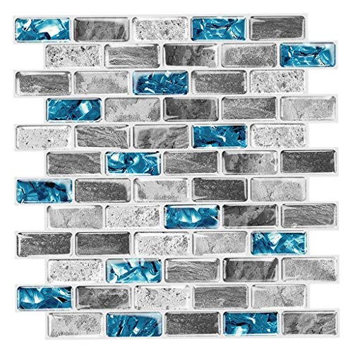 Baoblaze Textura de mármol auto-adhesivo azulejo contra salpicaduras pegatinas papel pintado 12x12 pulgadas a prueba de aceite para cocina baño DIY suministros - Estilo 1