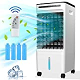Portable Air Conditioner Fan, 3-IN-1 Evaporative Air Cooler Humidifier Swamp Cooler, 3 Modes, 3 Speeds, 90° Oscillation, Timer, Remote Control, Personal Air Conditioner Fan for Whole Room Home & Office