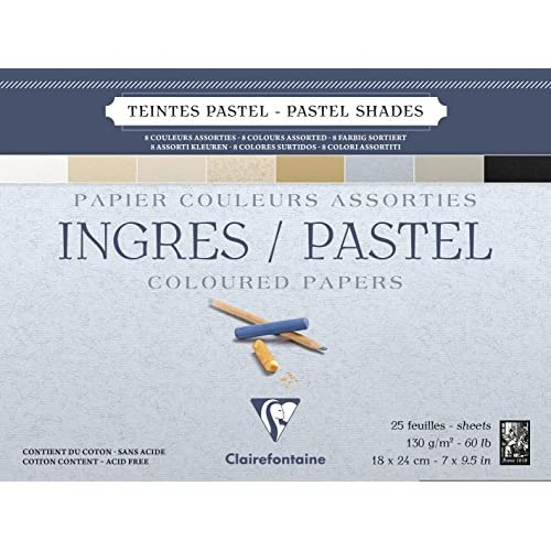Clairefontaine 96486C Blocco Ingres-Pastel, 18 x 24 cm, 25 Fogli, Assortimento Colori Pastello, 18x24