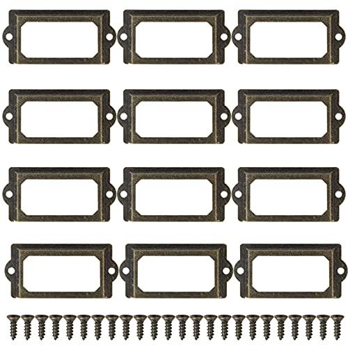 12 Piezas 70x33 mm Marco de Metal para Etiquetas de, Latón Antiguo con Tornillos, Titular Porta de Tarjeta para Cajón Archivador Gabinetes y Cajas