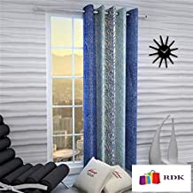 Home Ready 1 Piece Eyelet Polyester Long Door Curtain Set-Size-5 feet Long,Blue