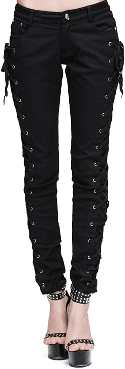 Punk Women's Cotton Casual Pants Gothic Laceup Black Trousers