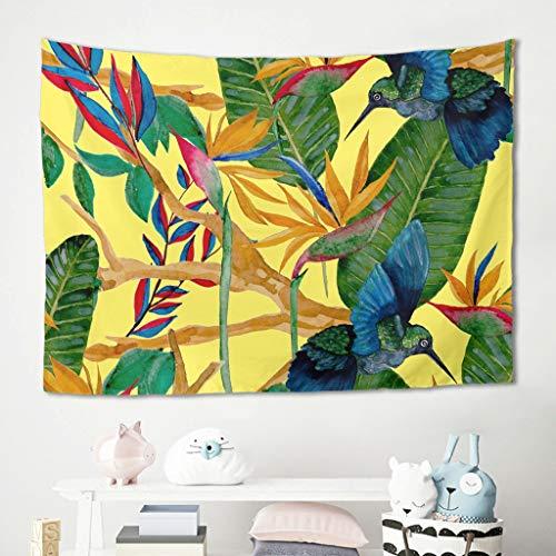 Colgador de pared amarillo verde colibrí para la pared, tapiz, para picnic, playa, meditación, yoga, salón, dormitorio, funda de sofá, poliéster, blanco, 150 x 150 cm