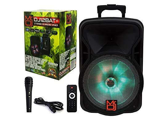 "Mr. Dj DJ12BAT+ 12"" Portable Trolley PA DJ Active Powered Bluetooth TWS Speaker 3000 Watts P.M.P.O LCD/MP3/USB/micro SD"