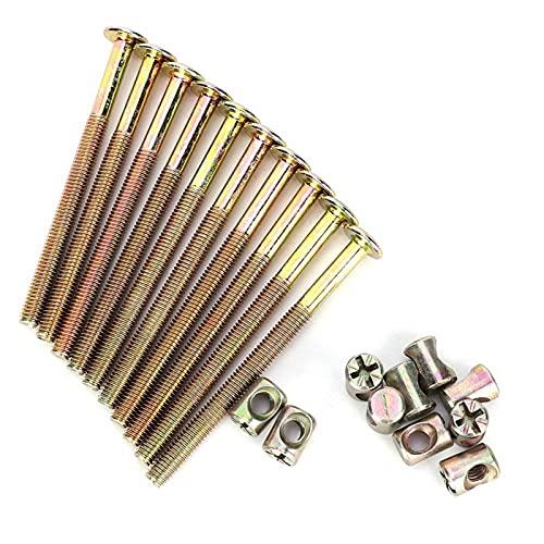 EVTSCAN Tornillo para muebles - 10 piezas M6 Pernos para muebles de acero al carbono con tuercas de barril Sujetador de conector de tuerca(150mm)
