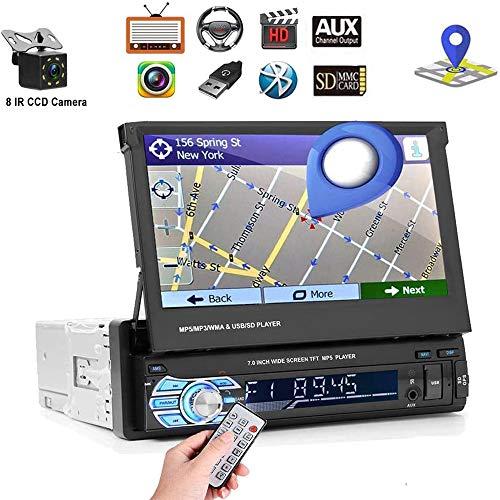 Podofo Autoradio mit Navi und Bluetooth, 1din GPS Radio mit Mirrorlink für Android, 7 Zoll Touchscreen Bildschirm Digital Media Receiver mit Kostenlose wasserdichte Rückfahrkamera, FM/USB/SD/AUX/ MP5