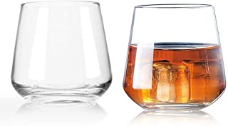 Whiskey Glass 13.5 Ounce Wine Scotch Cocktails Juice Glasses, Clear Coffee cup (set of 2)