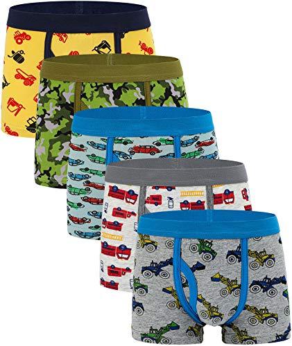 KEREDA Boys Boxershorts Baumwolle Unterwäsche Slips mit elastischer Taille Tarnung Dinosaurier Truck Unterhose für Kinder im Alter von 2-12 Jahren - 5er Pack