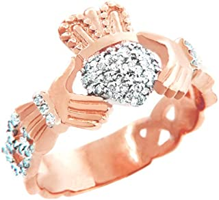 10k Rose Gold Diamond Pave Claddagh Promise Ring for Women