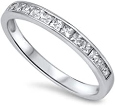 Blue Apple Co. Half Eternity Band Ring Wedding Engagement Princess Cut Square Invisible Cubic Zirconia 925 Sterling Silver 5-12