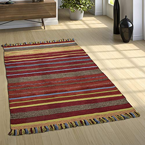 Paco Home Designer Teppich Webteppich Kelim Handgewebt 100% Baumwolle Modern Gestreift Bunt, Grösse:120x170 cm