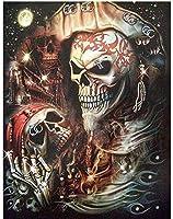 NC68 Diy 5Dダイヤモンドペインティングキットフルドリルハロウィーンモザイク海賊の頭蓋骨壁の刺繡工芸品のラインストーンの絵を描く家の装飾12x16インチ(フレームレス)