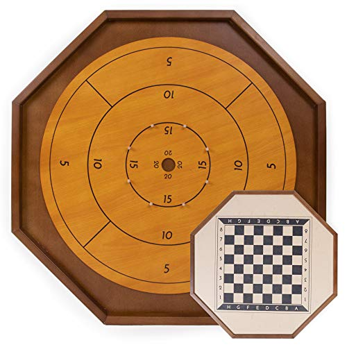Crokinole and Checkers, 27-Inch | Genuine, Classic Board Game for Two Players | Canadian Heritage Game Great for Families and Friends | Includes 24 Black and White Discs and Game Board