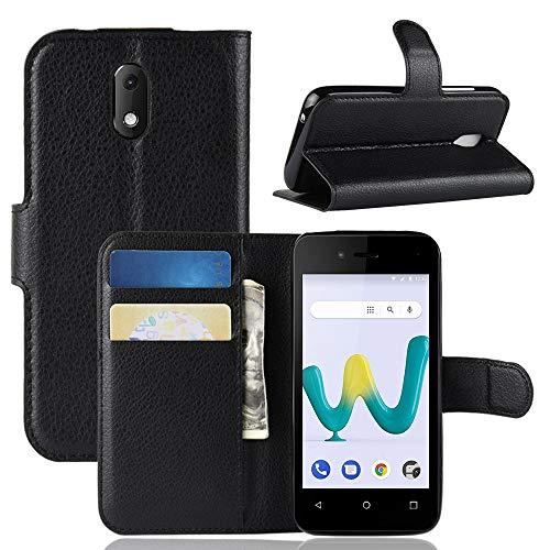 95Street Handyhülle für Wiko Sunny 3 Mini Schutzhülle Book Case für Wiko Sunny 3 Mini Hülle Klapphülle Tasche im Retro Wallet Design mit Praktischer Aufstellfunktion Schwarz
