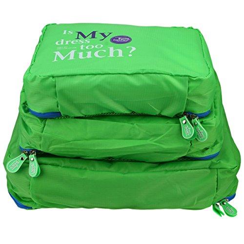 Travel Essentials Caribee-Organizzatori per bagagli per conservare-Organiser da viaggio, Organiser per valigia in tessuto e borse per abiti, confezione da 3 pezzi, Set, organizzatore per borse, verde (Verde) - Travel packing cubes-111