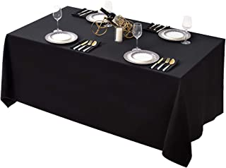 Surmente 90 x 132-Inch Table Cloth Rectangular Polyester Tablecloth for Weddings, Banquets, or Restaurants (Black) … … …