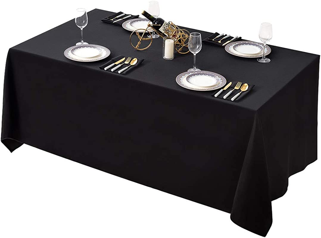Surmente 90 X 132 Inch Table Cloth Rectangular Polyester Tablecloth For Weddings Banquets Or Restaurants Black