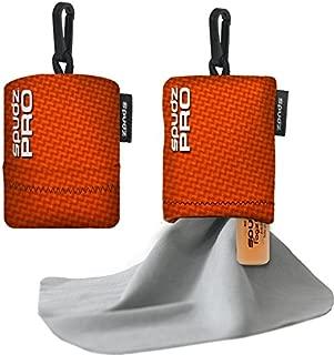 Spudz Pro Individual Orange 10 x 10 Microfiber Towel w/Anti Fog Spray, Neoprene Pouch, Premium Microfiber Cleaning Cloth for Laptops, Lenses, Cameras, Glasses, Windows, Screens, and More - Orange