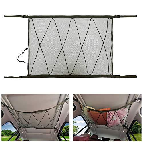 Gepäcknetz Auto für Decken Aufbewahrung - Auto Cargo Universal Netztasche mit Einstellbar Kordelzug für Vier Dach Armlehnen Speziell für SUV, Atmungsaktiv (Armee Grün)