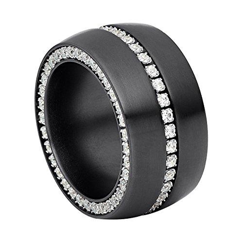 Heideman Ring Damen Ductus aus Edelstahl schwarz matt Damenring für Frauen mit Swarovski Stein Zirkonia Weiss im Brillant Schliff 1,5mm