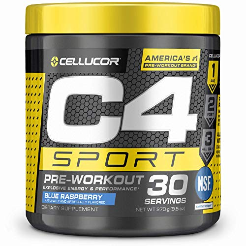C4 Sport Pre Workout Powder Blue Raspberry - NSF Certified for Sport + Sugar Free Preworkout Energy Supplement for Men & Women - 135mg Caffeine + Creatine - 30 Servings