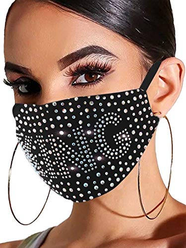 Barode Rhinestones Mask Queen Masquerade Face Decoration Jewelry for Women and Girls(King)