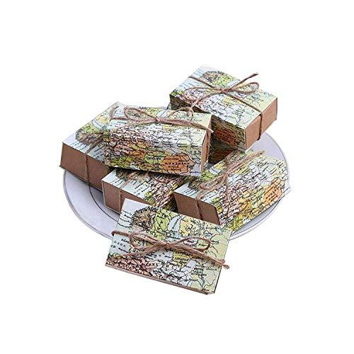 Dozen van kraftpapier, 50 stuks rondom de wereldkaart, voor snoepjes, cadeau, voor op reis, themafeest, bruiloft, verjaardag size Kleur foto