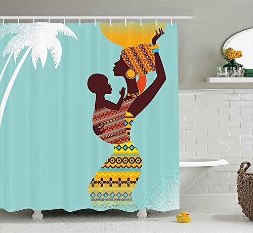 AdaCrazy Cortina de Ducha Estilo Africano Madre y su bebé en Ropa Imagen de Moda de Estilo Retro 71x71 Pulgadas Lavado de Tela Impermeable Que Incluye 12 Ganchos de plástico
