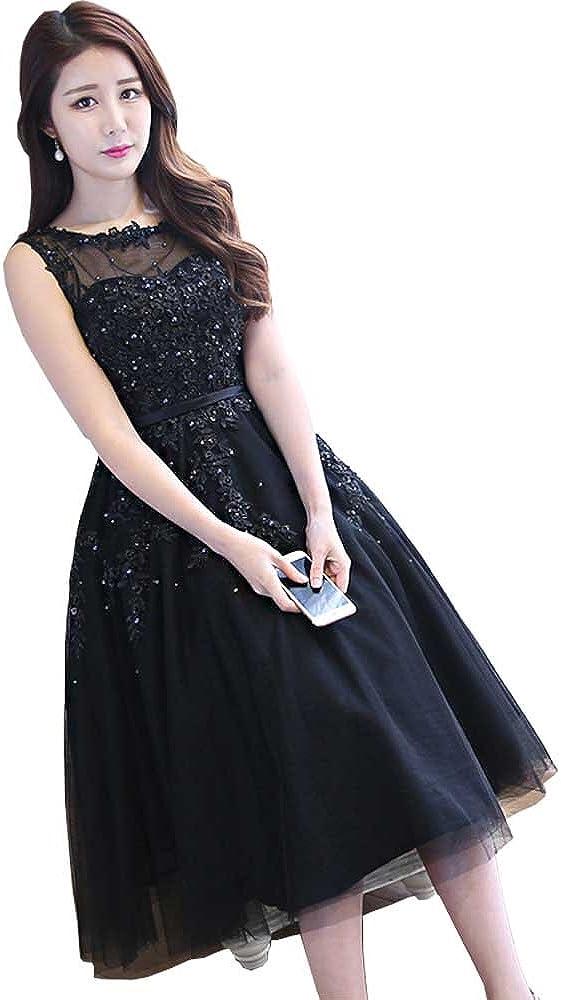 SHANGSHANGXI Women Short Evening Dress Knee Length Prom Dresses Lace Appliques Cocktail Gown