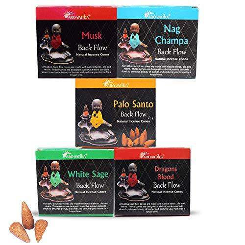 ARO VATIKA Natural Masala Backflow Assorted Incense Cones Combo 'A' of 5 Packets Consists Total 50 Cones (Nag Champa, Dragons Blood, White Sage, Palo Santo, Musk)