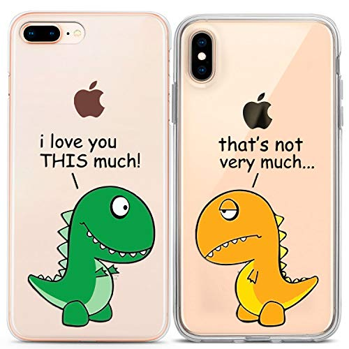 Lex Altern Couple Case for iPhone 11 Pro Xs Max 10 X Xr 8 Plus 7 6s SE 5s Funny Clear Matching Lightweight Cute Design Protective Dinosaur Slim I Love You This Much T-Rex Cover Animal Print Boyfriend
