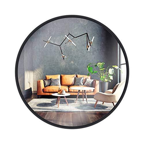 Gold&Chrome Runder Spiegel im Rahmen 73cm, Wandspiegel, Schminkspiegel, Mirror für Badzimmer, Ankleidezimmer oder Wohnzimmer, Schwarz