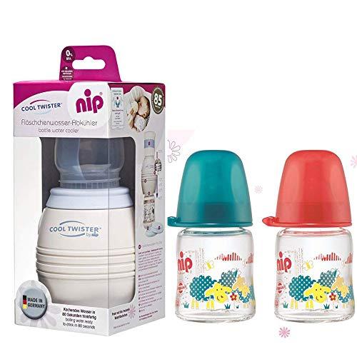 NIP Flaschenkühler Cool Twister inkl. inkl. 2 x NIP Weithalsflasche aus GLAS 120 ml mit Sauger M (Milch)