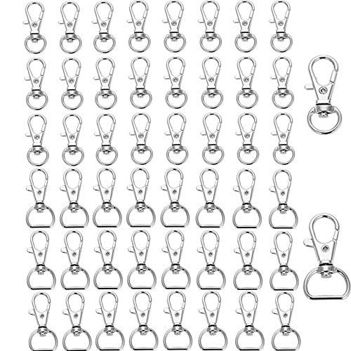 50 Pieces Metal Swivel Clasp Lanyardm,Lobster Clasps Swivel,Snap Hooks Key Chain Hooks,Rotatable,for Lanyard,Key Rings Crafting,Bags,Jewellery Making,Craft DIY Accessory,Silver(2 Styles)