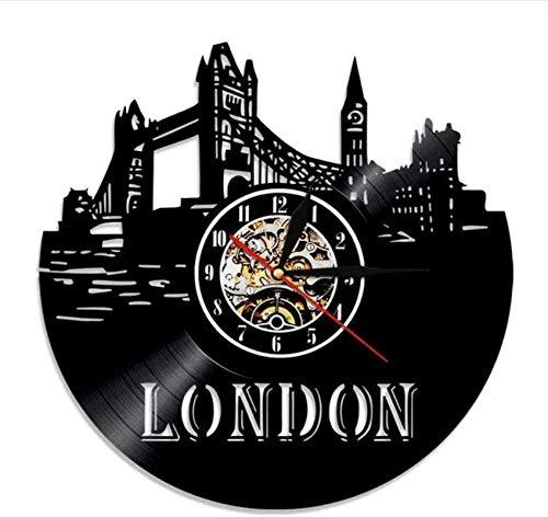 ZZLLL Reloj de Pared de Vinilo Retro London Skyline 3D retroiluminado Decoración Nocturna Reloj de Vinilo DIY 12 Pulgadas