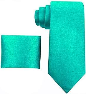 Solid Ties for Men - Silk Necktie + Pocket Square - Mens Ties Neck Tie