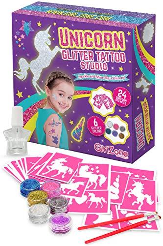 GirlZone Cadeau Fille - Tatouage Paillette Enfant Licorne- Tatouage Temporaire - Kit De 33 Pièces - Inclut 24...
