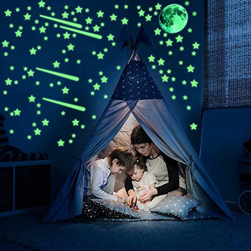 Ezigoo Glow In The Dark Aufkleber-Dekorationsset - 482 Stück (Mond, Sterne & Kometen). Leuchtende Wand- und Deckenaufkleber. Ideales Dekorationszubehör Für Kinderschlafzimmer