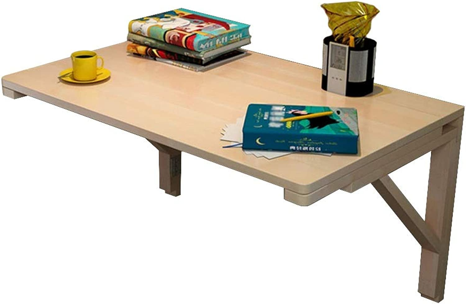 ERRU- Wall-Mounted Folding Table for Office Home Kitchen, Drop-Leaf Dining Table Desk Wooden, Size Optional (Size   50x30cm)