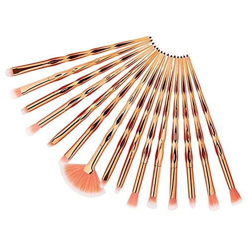 Make Up Pinsel Set 16pcs Professionelles Mattrosegoldenes Schminkpinsel Kosmetikpinsel Lidschatten Gesichtspinsel Eyeliner mit elegantem Reiseetui aus PU-Leder