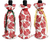 3 bolsas para botellas de vino de granada roja, para decoración de mesa de vacaciones talla única Como se muestra en la imagen