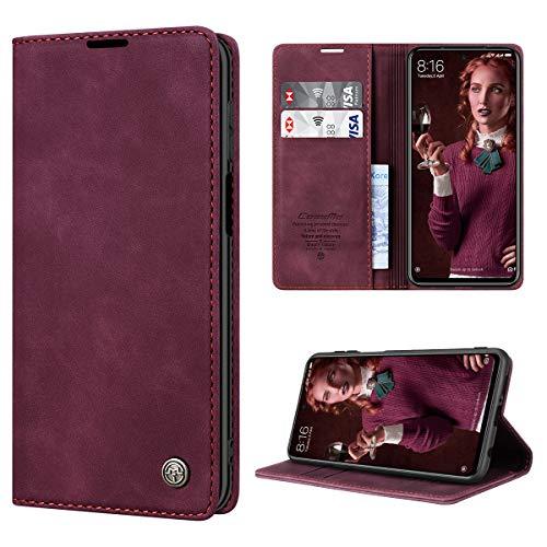 RuiPower Handyhülle für Xiaomi Redmi Note 9S Hülle, Redmi Note 9 Pro Hülle Premium Leder PU Flip Hülle Magnetisch Klapphülle Schutzhülle für Xiaomi Redmi Note 9S/ 9 Pro/9 Pro Max Tasche - Wein Rot